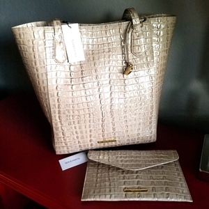 Brahmin Jayden Tote Warm Grey La Scala Set NWT